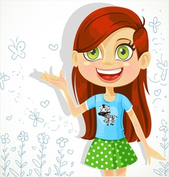 Cute girl of school-age tells the story vector image vector image