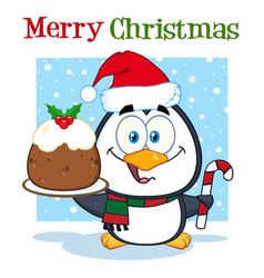 cute penguin holding christmas pudding vector image vector image
