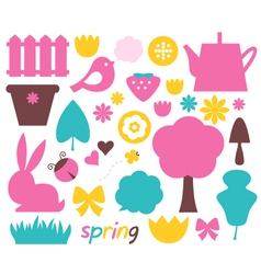 Cute spring and easter colorful design elements vector image vector image