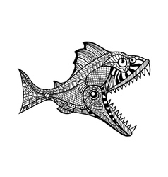 Deep water predator fish attacking vector image