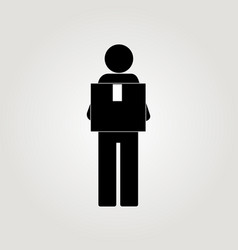 delivery man with cap box figure vector image