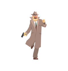 Detective character running with gun private vector