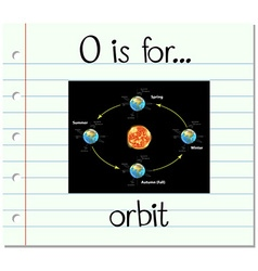 Flashcard letter o is for orbit vector