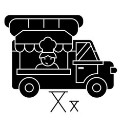food truck - street food - mobile kitchen icon vector image