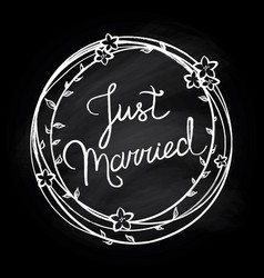 Just married lettering vector