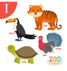 Letter T Cute animals Funny cartoon animals in vector image vector image