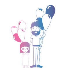 Line father and dauther together with balloons vector