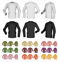 Long sleeve blank male t-shirt template front vector