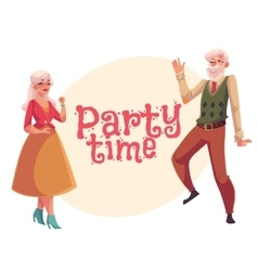 Old man and woman dancing cartoon invitation vector