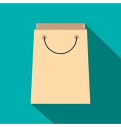 Paper shopping bag flat icon vector image vector image
