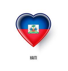 Patriotic heart symbol with haiti flag vector