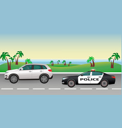 Police pursuit on a road police job concept vector