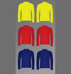 Polo t shirt long sleeve vector