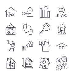 real estate thin icons icons set with editable vector image