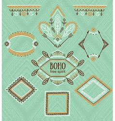 Set of ornamental frames indian collection for vector