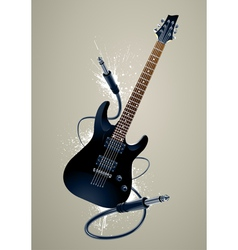 Black guitar with cables vector