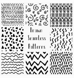 abstract hand drawn black seamless patterns vector image