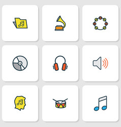 audio colored outlines set collection of volume vector image