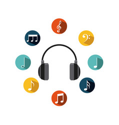 Headphones with musical notes vector