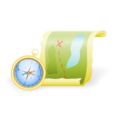 Compass and map vector image