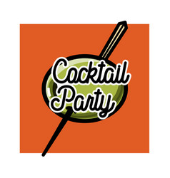 color vintage coctail party emblem vector image