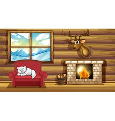 A cat sleeping above the chair near the fireplace vector