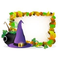 Witch hat and cauldron on autumn leaves background vector