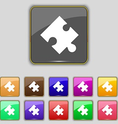Puzzle piece icon sign set with eleven colored vector