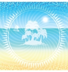 Sand beach and small island with palms vector