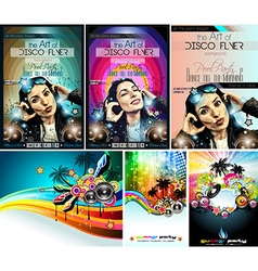 Club Disco Flyer Set with DJ Girl and palms vector image