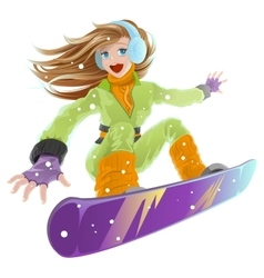 Snowboarding beautiful young happy girl on vector