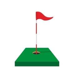 Red golf flag cartoon icon vector