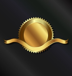 Gold seal with ribbon vector
