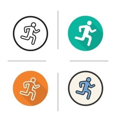 Running man flat design linear and color icons vector image