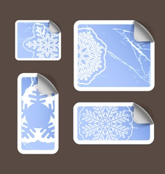 Aged scratched paper stickers set vector image