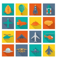 Aircraft icons set vector image vector image