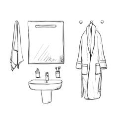 Bathroom interior elements mirror and washbasin vector