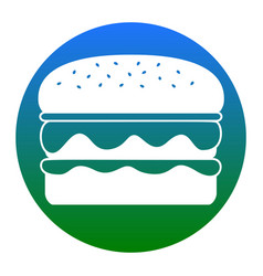 Burger simple sign white icon in bluish vector