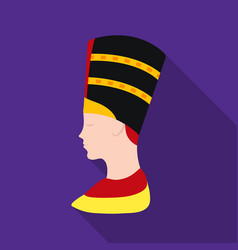 Bust of nefertiti icon in flat style isolated on vector