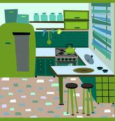 Cartoon flat interior room kitchen vector