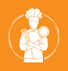 Chef cook crossed arms with pan and spatula vector