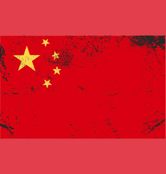 china grunge flag vintage retro style vector image vector image