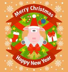 christmas and new year background card with sheep vector image vector image