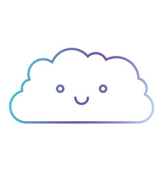 cloud cartoon kawaii in color gradient silhouette vector image vector image