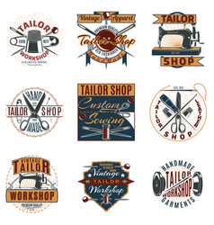 Colored premium tailor shop logotypes set vector
