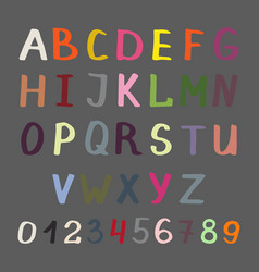 colorful alphabet on grey vector image vector image