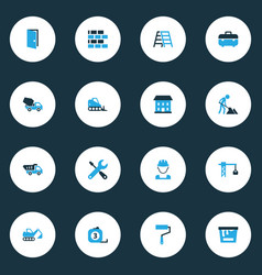 Construction colorful icons set collection of tip vector