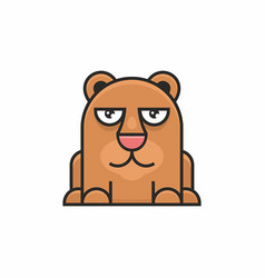 cute bear icon on white background vector image vector image