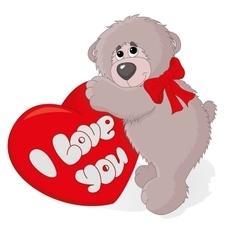 cute teddy bear with a heart vector image