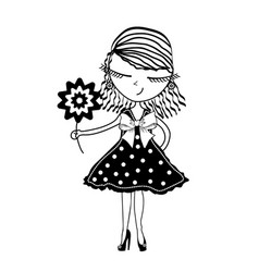 Cute young girl with flowers on white background vector